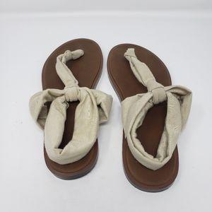 SANUK Beige Cloth Thong Sandals